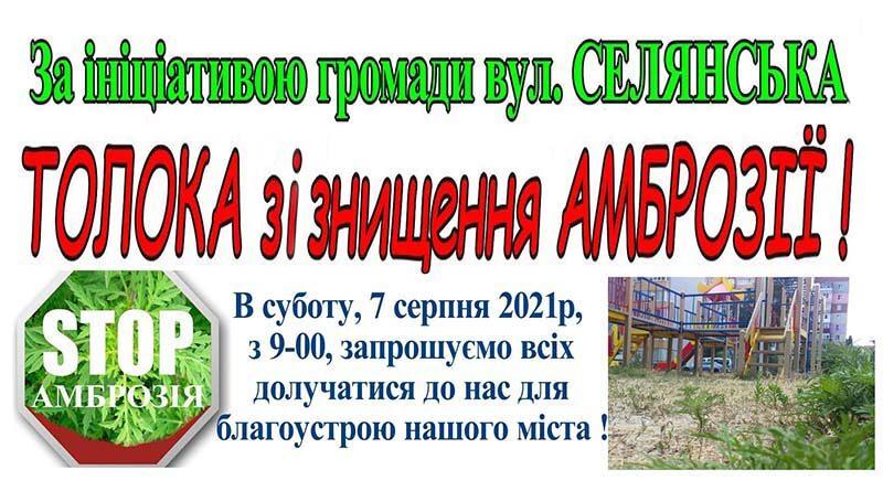 Анонс толоки на вулиці Селянской
